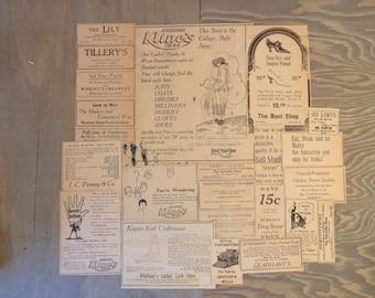 Vintage Fashion Ephemera Advertisements 1920 Corvallis, Oregon..Department Store Ads, Art Nouveau Fashions, Altered Art Mixed Media Supply