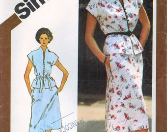 1980s Simplicity 9379/9947 Vintage Sewing Pattern Misses Two-Piece Dress Size 12 Bust 34, Size 14 Bust 36