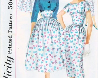 1950s Simplicity 1990 Vintage Sewing Pattern Misses Slim and Full-Skirted Dress, Cropped Jacket Size 12 Bust 32