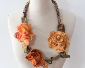 Felted Flower  Necklace  Peach, Deep Orange, Coffee Latte