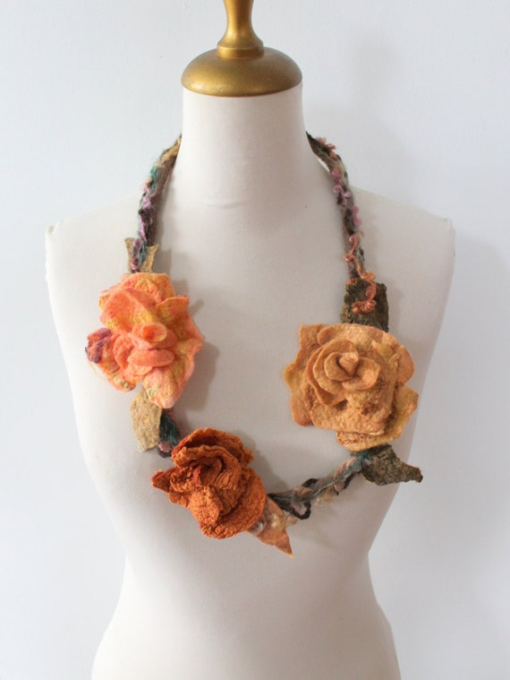 Felted Flower  Necklace  Peach, Deep Orange, Coffee Latte
