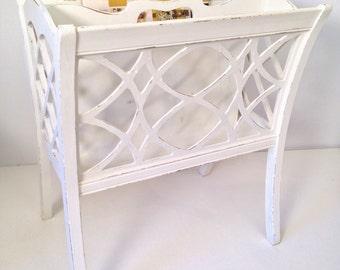 vintage magazine bin - white painted wooden rack basket