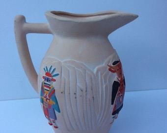 VTG Egyptian Like Pitcher // Flower Vase // Ceramic