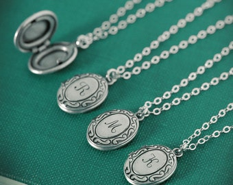 Personalized Jewelry Tiny Initial Locket Necklace with Your Letter on Sterling Silver Chain, Bridesmaid Gifts, Wedding Party, Bridal, Oval