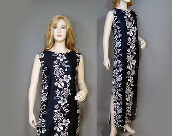 Vintage Dress 60s Navy Blue White Hawaiian Cotton Floral Shift Maxi Andrade M L