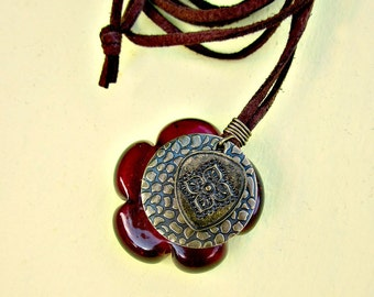 Long Brown Faux Suede Cord No Clasp Necklace with Glass Flower Pendant: Epoch