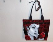 Myka Jelina Scarlet Bird, red roses, Tote Bag, book tote, large purse, canvas tote, shoulder bag, gym bag, diaper tote