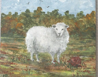 Sheep with Red Yarn Ball/Tiny Mini Original Painting
