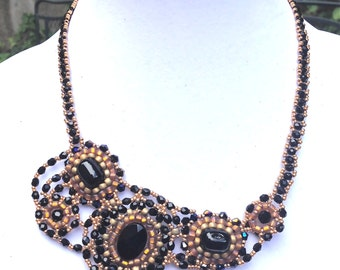 Women beaded bib necklace, handmade black beaded necklace, one of a kind necklace, statement black necklace