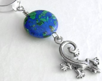 Silver Gecko Ear Cuff, Lizard Cuff Earring, Blue Green Stone, No Piercing Ear Cuff