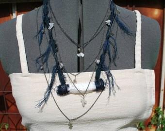 OOAK Tribal Boho Nomad Gypsy Raw Selenite Necklace With Indigo Silk & Blackened Silver Shambhala Coachella Festival