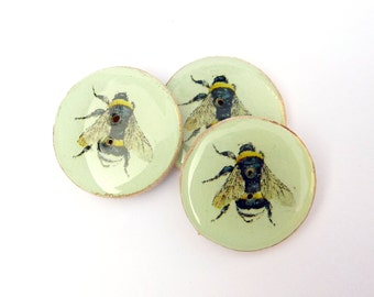 """3 Wooden Bee Buttons.  1"""" or 25 mm Soft Green Vintage Image Bee Sewing Buttons."""