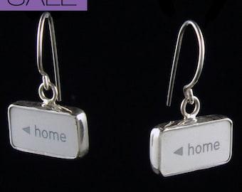 """SALE - Computer Key Jewelry - rePURPOSED Apple MacBook """"HOME sweet Home """" Sterling Silver Earrings"""