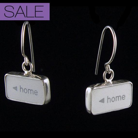 """Computer Key Jewelry - rePURPOSED Apple MacBook """"HOME sweet Home """" Sterling Silver Earrings"""