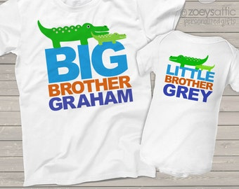 alligator big brother and little brother or sister matching sibling t shirts MALL1-004