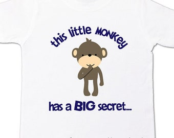 Big brother to be shirt - Little monkey front and back design t-shirt pregnancy announcement