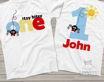 Itsy bitsy spider First 1st birthday shirt - perfect for any age birthday MBD-030