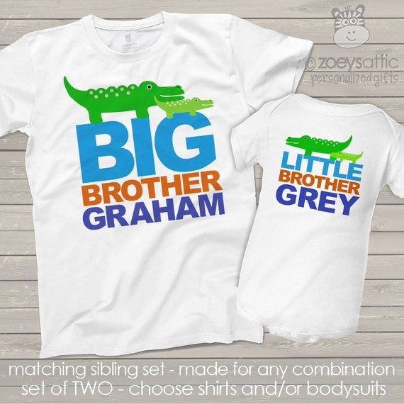 alligator big brother and little brother or sister matching sibling t shirts