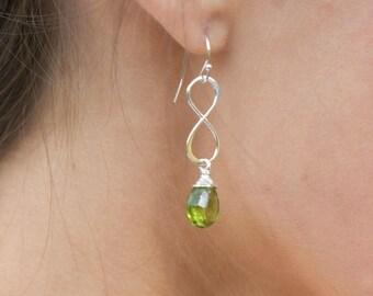 Silver Infinity Earrings, Green peridot earrings, custom color, bridesmaid gift, August birthstone earrings, sterling silver earrings