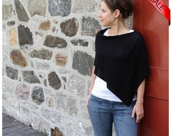 ON SALE Eco Friendly Fashion Accessorie ... Black Poncho - Bamboo Knit