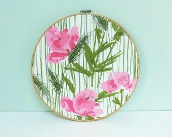 Vintage Vera Neumann Floral Fabric Swatch Portrait Embroidery Hoop Art, Pink Poppies & Green Wheat, a Schumacher Textile