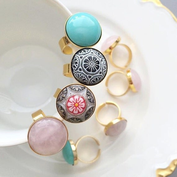 SALE Stone Rings - Turquoise Stone, Pink Quartz, Vintage Glass, 24K Gold Filled Ring, Bride, Bridesmaid, Wedding