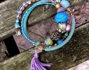 Boho Memory Wire Bracelet, Vintage Glass Bead Bracelet, Beaded multi Row Bracelet, Featured in Jewelry Affaire Magazine Summer 2015