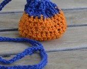 Lucky Charm  Pouch Bag Bright Orange & Blue for boys, girls, adults