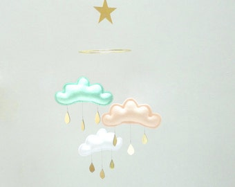 "Mint Peach White cloud mobile for nursery with gold star "" IRINA"" by The Butter Flying-Rain  Mobile-star mobile-Baby mobile - Cloud mobile -"