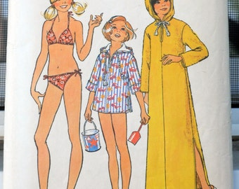 Simplicity 6994 - Adorable Girls', Tweens, Teens, Juniors Bikini, Hoodie Jacket, Caftan Cover-Up - Beach, Swimwear, Swimsuit - Size 12 -14