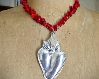 Huge  Ex Voto SACRED HEART Guadalupe Frida Bamboo Coral Necklace - Perfect for your loved one