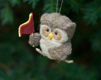 Needle Felted Owl Ornament - Holding Pennant