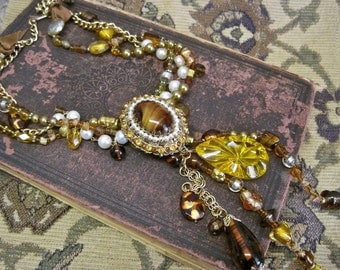 Sun Drenched Dreams: Amber Statement Necklace Vintage Assemblage Glowing Amber Sparkling Topaz Root Beer Glass Pearls Dramatic Bold WOW