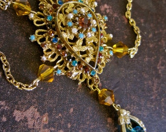 To the Manor Born: Victorian Choker Y Necklace Vintage Assemblage Romantic One of a Kind Gold Topaz Turquoise Crystals Pearls Rhinestones