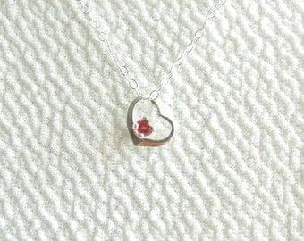 Garnet Pendant Sterling Silver Heart January Birthstone 3mm