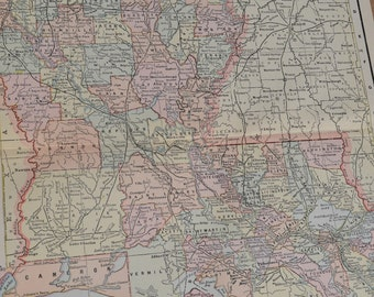 1898 State Map Louisiana - Vintage Antique Map Great for Framing 100 Years Old