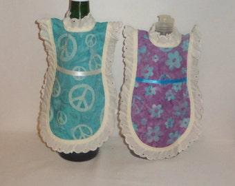 Dish Soap Apron, Aqua Peace Sign, Purple Floral, Cotton Batik, Wine bottle, Detergent  Cover, Eyelet Lace, Kitchen Decor