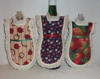Apple, Dish Soap Apron,  Handmade, Bottle Gift Wrap, Mini Apron, Wine Bottle, Detergent Cover, Kitchen Decor, Eyelet Lace