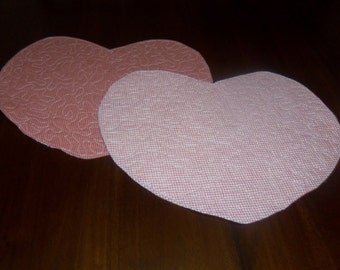 Handmade, Quilted Placemats, Heart Shaped, Set of Two, 13x15 Inches, Valentine Day, Red Homespun, Machine Quilted, Americana