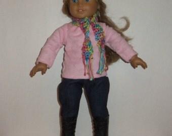 18 inch Doll Sweater, Dark Denim Jeans, Soft Fleece Shirt, Leggings, Crochet Hat, Scarf, American Made, Girl Doll Clothes