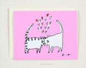 Headbutt Love Card - Funny Valentine Card - Cat Valentine