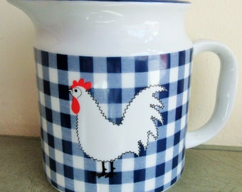 Vintage Pitcher, Rooster Pitcher, Rosenthal Netter, Ceramic, Chicken and Gingham, Made in Japan, Blue Gingham, Cottage Chic Pitcher, Kitchen
