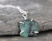 Emerald Pendant - Raw Green Emerald Necklace - Rough Green Gemstones - May Birthstone - Made in Canada - Sterling Silver Emerald Necklace
