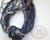 Hand Dyed Silk Ribbon - Silk Cord - DIY Crafts - Jewelry Supplies - Wrap Bracelet - Craft Supplies - 2mm Silk Cord Strands Evening Forest