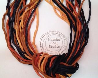 Hand Dyed Silk Ribbon - Silk Cord - DIY - Jewelry Supplies - Wrap Bracelet - Craft Supplies - 2mm Silk Cord Strands Halloween Black Oranges
