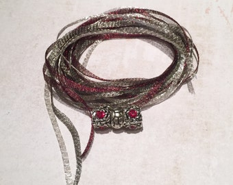 WireLace Charisma Bracelet Kit, Merlot, Titanium, and Pale Silver, DIY Bracelet Kit, kit A-17