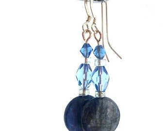 Long blue earrings. Kyanite, moonstone & crystal. Shimmering Sky