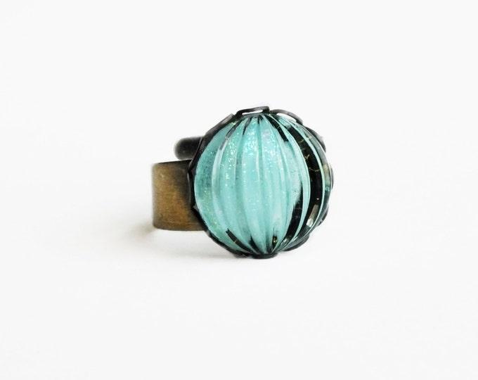 Turquoise Glitter Ring Vintage Light Aqua Glass Adjustable Brass Ring Light Pastel Turquoise Ring Nail Polish Jewelry