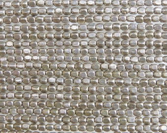 3.5mm (1mm hole) Anitque Silver Finish Solid Brass Metal Cornerless Cube Beads - 24 Inch Strand (BW393)