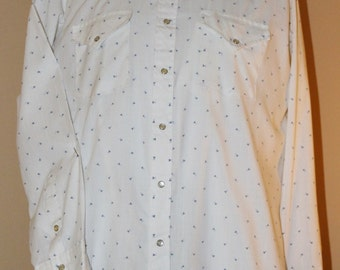 Vintage Western Cowboy Shirt by Ely Cattleman, Pearl Snaps, 1970's Era